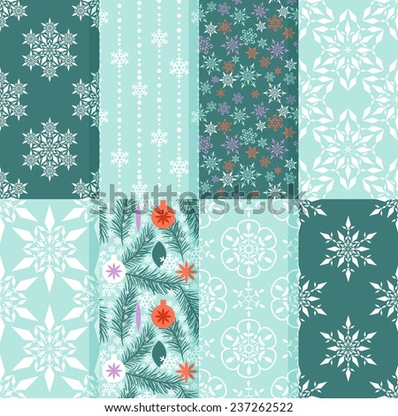 Seamless patterns with snow flakes and new year ornament - stock vector