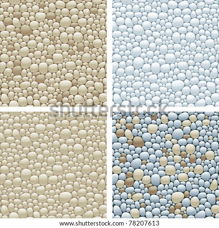 Seamless patterns with stones. Four vector seamless patterns with beige, gray, and  brown smooth pebble - stock vector