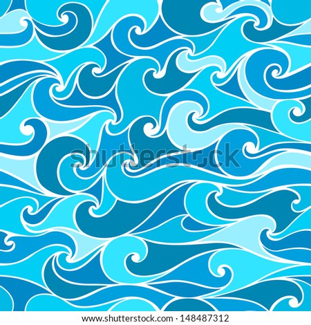 Seamless patterns with stylized wave - stock vector