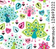Seamless peacock bird and owl oriental kids background pattern in vector - stock vector
