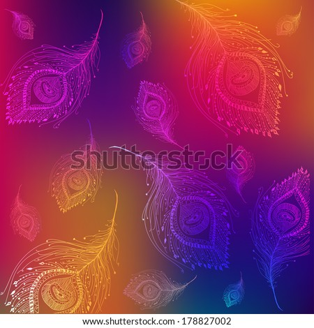 Seamless peacock feather pattern background in vector - stock vector