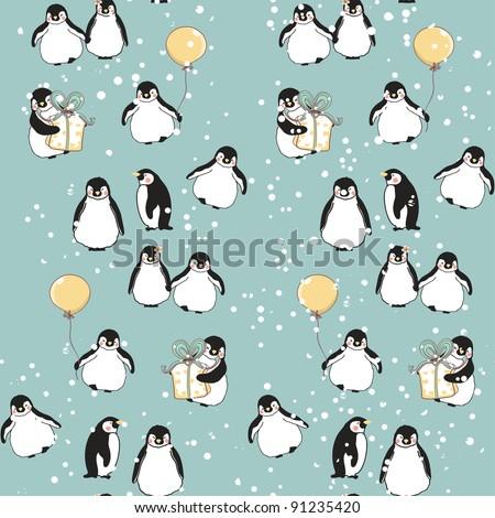 seamless penguin pattern - stock vector