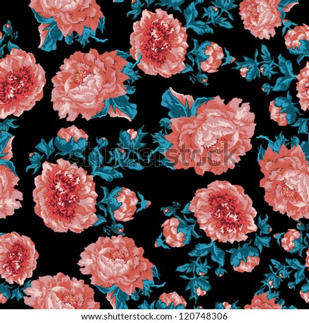 Seamless peony wallpaper pattern.  Vector background - stock vector