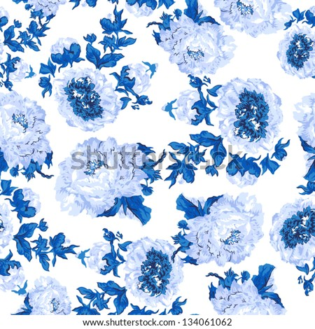 Seamless peony wallpaper pattern. Vector background in blue - stock vector