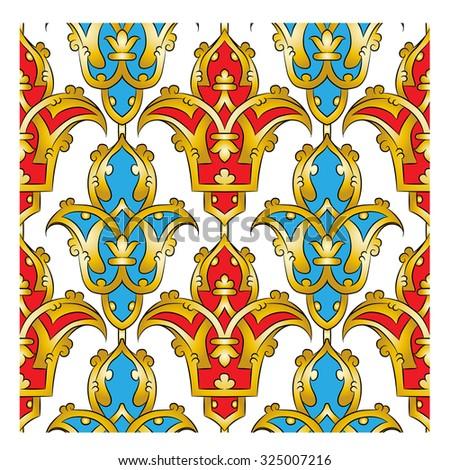 Seamless Persian pattern - golden - stock vector