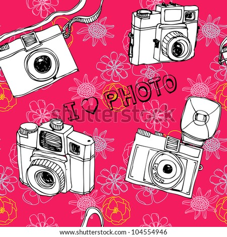 Seamless photo camera colorful pattern in vector - stock vector