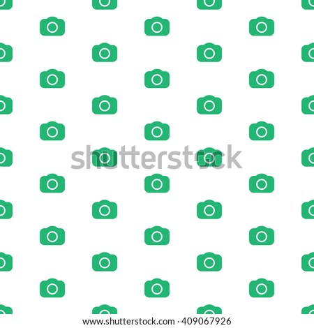 Seamless photography pattern with green cameras. Photo background template with dslr camera icons. - stock vector