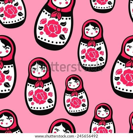 Seamless pink background with a pattern of stylized Russian nested dolls with red roses with black leaves. Matryoshka - stock vector