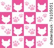 Seamless Pink Cat Pattern - stock vector
