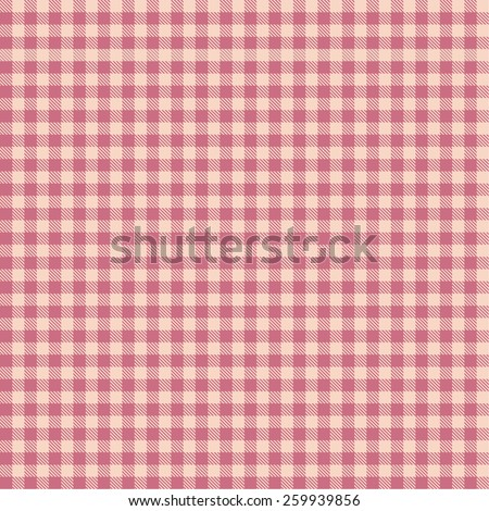Seamless pink checkered tablecloth pattern - stock vector
