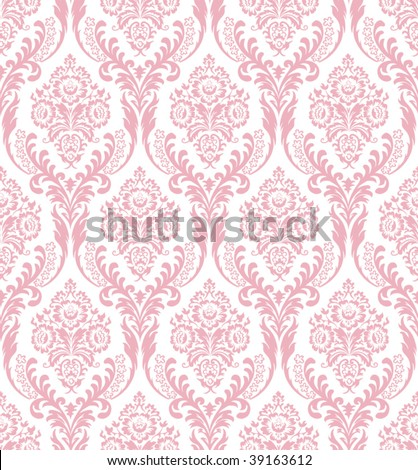 Seamless pink damask - stock vector