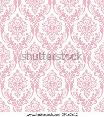 Seamless pink damask - stock vector