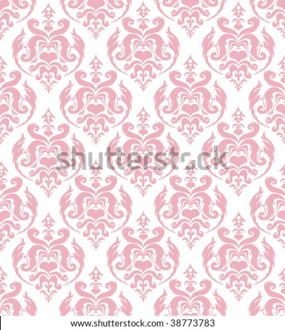 Seamless pink damask background - stock vector