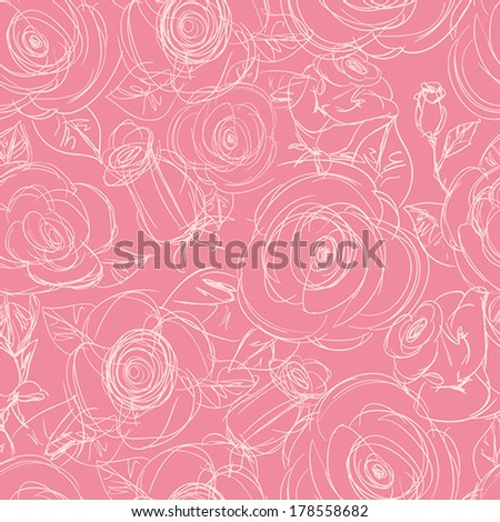 Seamless Pink Floral Pattern. Hand Drawn Sketchy Background with Roses. Outline Doodle Flower textile. Good For Web, print, Wrapping Paper. - stock vector