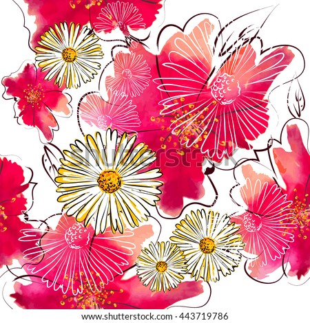 Seamless pink flowers background from blots. Vector - stock vector