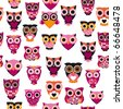 Seamless pink owl illustration pattern in vector for kids - stock