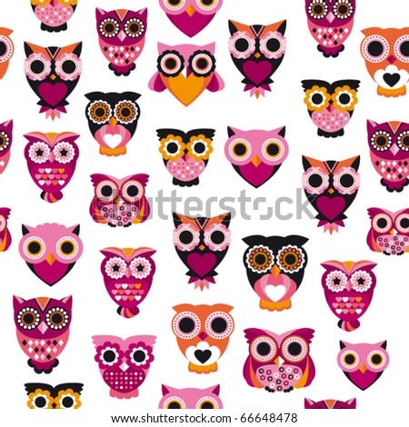 Seamless pink owl illustration pattern in vector for kids - stock vector