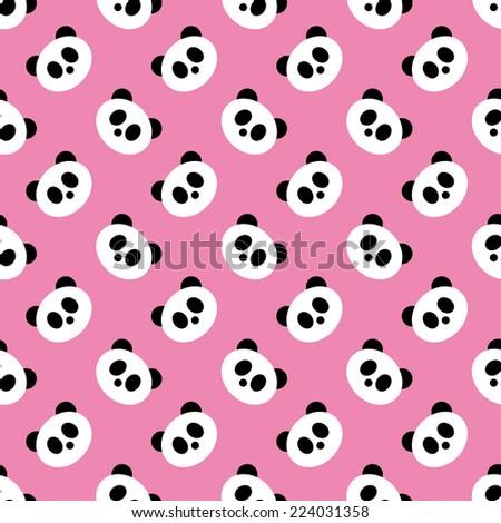 Seamless Pink Panda Pattern Vector