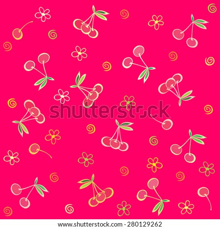 Seamless pink pattern with cherries. Summer fruit illustration. Vector Illustration - stock vector