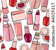 Seamless pink pattern with various stilized cosmetics - stock vector