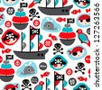 Seamless pirate island illustration colorful kids retro background pattern in vector - stock