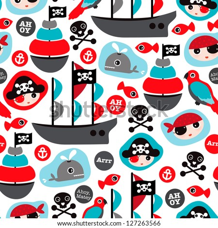 Seamless pirate island illustration colorful kids retro background pattern in vector - stock vector