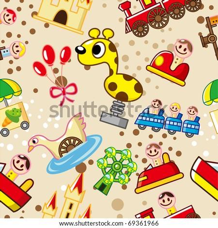 seamless playground pattern - stock vector