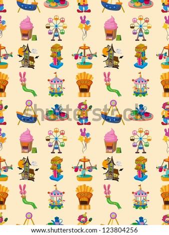 seamless playground pattern,cartoon vector illustration - stock vector