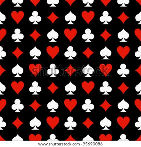 Seamless poker background with suits: hearts, diamonds, clubs, spades. Vector illustration.