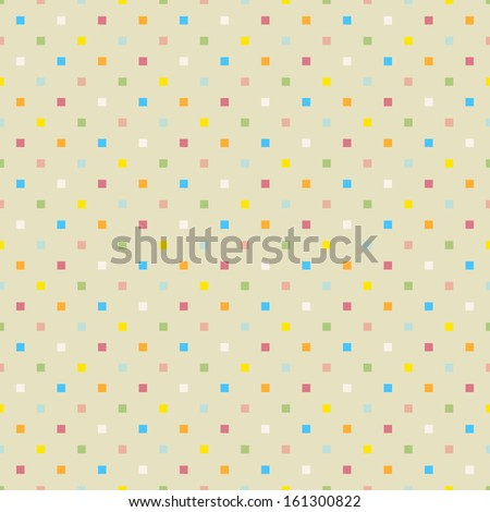 Seamless polka dot colorful pattern with squares. Vector