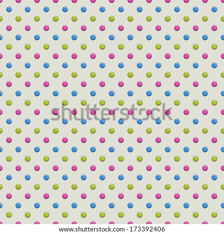 Seamless Polka Dot Pattern on Gray Background - stock vector