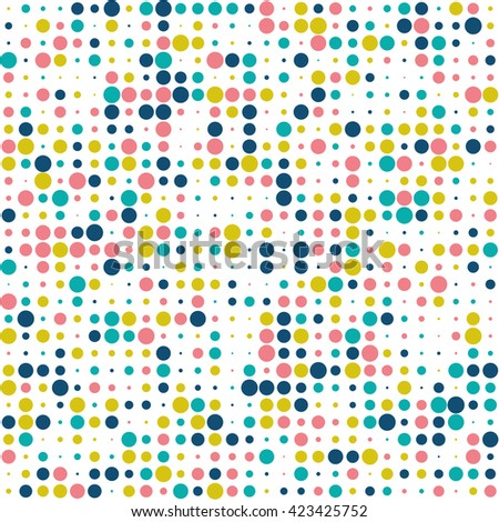 Seamless polka dot pattern with circles of fresh colors on a white background - stock vector