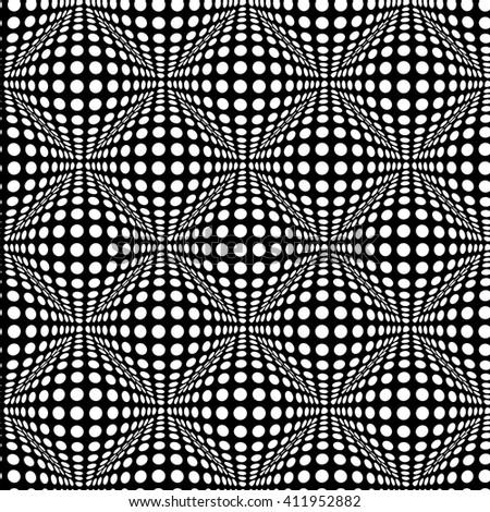 Seamless polka dot pattern with optical 3D effect. Vector art. - stock vector