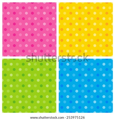 Seamless polka patterns on colorful background - stock vector
