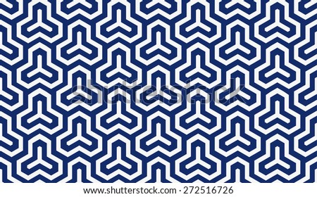 Seamless porcelain indigo blue and white isometric hexagonal symmetry medieval pattern vector - stock vector