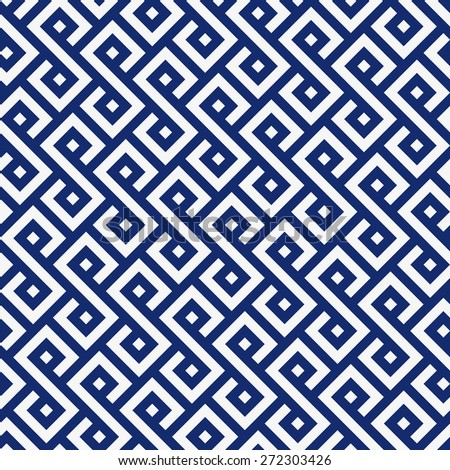 Seamless porcelain indigo blue and white square ethnic pattern vector
