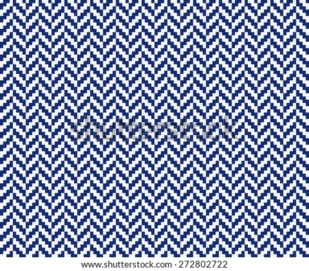 Seamless porcelain indigo blue and white vintage pixel herringbone pattern vector - stock vector