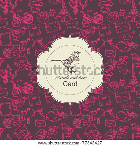 Seamless postal pattern with card label - stock vector