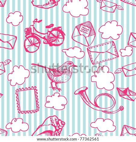 Seamless postal pattern with clouds - stock vector