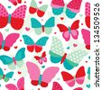 Seamless powder pastel tones butterfly flower patch work illustration background pattern in vector - stock vector