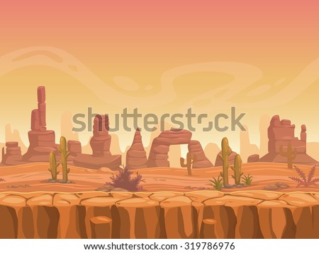 Seamless prairie landscape, nature unending background, separated layers ready for animation - stock vector