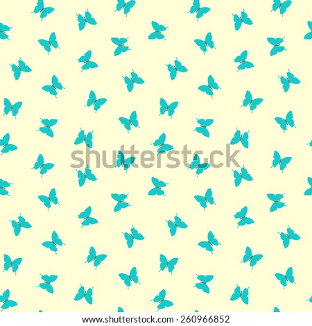 Seamless pretty blue butterfly pattern - stock vector