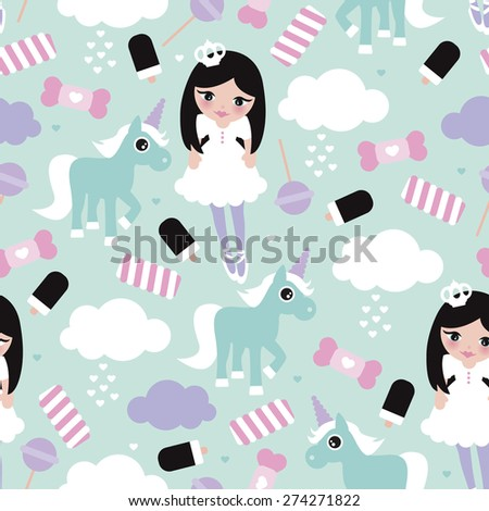 Seamless princess lollipop candy clouds and unicorn fantasy illustration pattern for girls background pattern in vector - stock vector