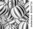 Seamless pumpkin background black and white. Vector - stock vector