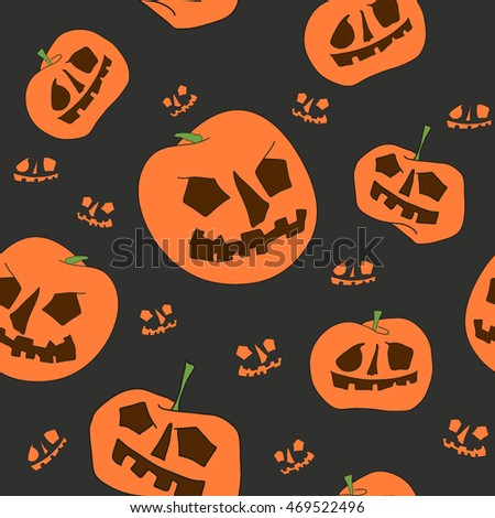 Seamless pumpkin pattern on black background. halloween fabric. vector