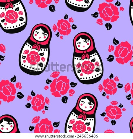 Seamless purple background with a pattern of stylized Russian nested dolls with red roses with black leaves. Matryoshka - stock vector