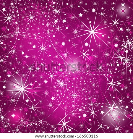 Seamless purple christmas pattern with stars and vivid pink spots (vector EPS 10) - stock vector