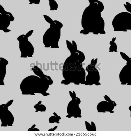 seamless rabbit silhouette pattern. vector illustration - stock vector