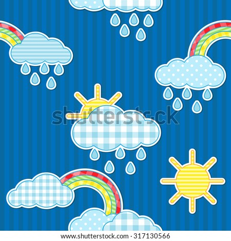Seamless rain pattern with sun and rainbows - stock vector