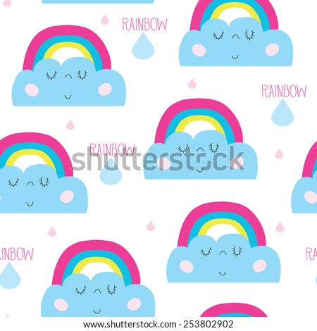 seamless rainbow and clouds vector illustration - stock vector